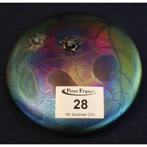 28 - John Ditchfield iridescent paperweight, two frogs on a lilypad, hand made, made for Glasform. Origin...