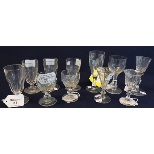 37 - Collection of antique drinking glasses, various to include; ale glasses, Georgian ball knop glass, G...