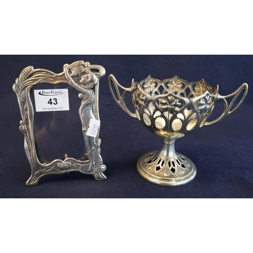 43 - Art Nouveau design silver plated picture frame, together with a silver plated Art Nouveau floral and...