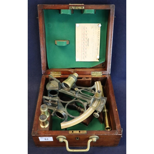 51 - Victorian brass mounted sextant by Sewill maker to the Royal Navy, Liverpool. In mahogany case with ...