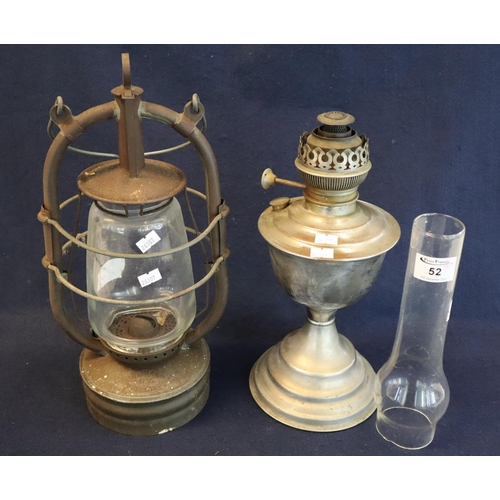 52 - Vintage Veritas Pax metal and glass single hand burner, together with another oil burner with glass ...
