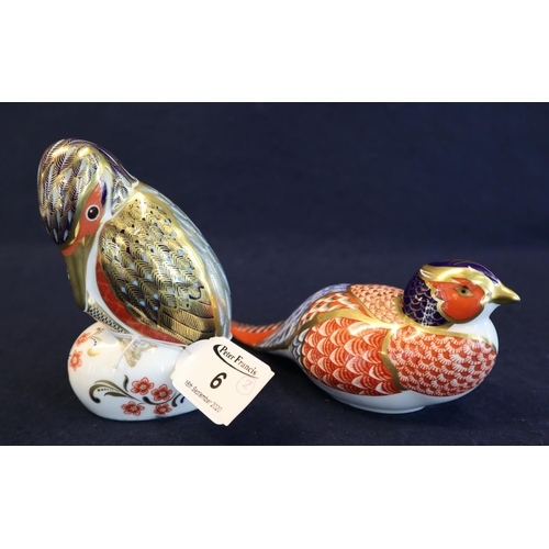 6 - A Royal Crown Derby bone china pheasant paperweight, together with a Royal Crown Derby bone china ki...