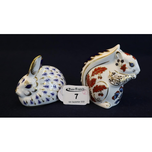 7 - Royal Crown Derby bone china paperweight of a recumbent rabbit, together with a Royal Crown Derby bo...