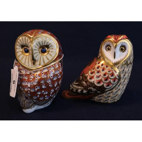 8 - Royal Crown Derby bone china paperweight 'Short Eared Owl' an exclusive for the Royal Crown Derby Co...