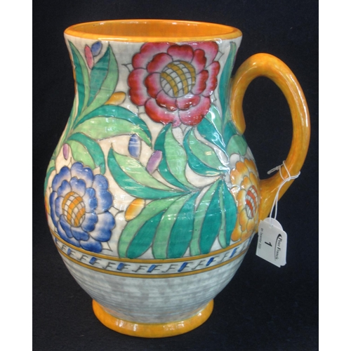 1 - Mid Century Crown Ducal pottery Charlotte Rhead design foliate decorated, tube lined baluster jug, p...