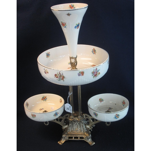 10 - 20th Century Staffordshire pottery and gilded metal table centre epergne with single flute and three...