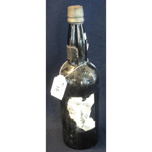 15 - One bottle of vintage port of unknown origins, appearing to be 18th or 19th Century, retaining only ...