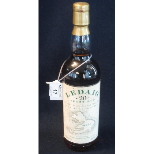 17 - Ledaig 20 years old single malt Scotch whisky  from the Island of Mull, bottled in Scotland,believed...