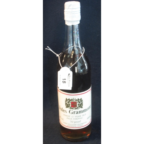 18 - One bottle Jules Grammont Finest 12 year old pale cognac, 68cl, 70% proof, 40% by volume.  (B.P. 21%...
