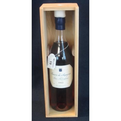 19 - One bottle Baron de Sigoqnac BAS Armagnac 1963, 70cl, 40% by volume, in original wooden box. (B.P. 2...