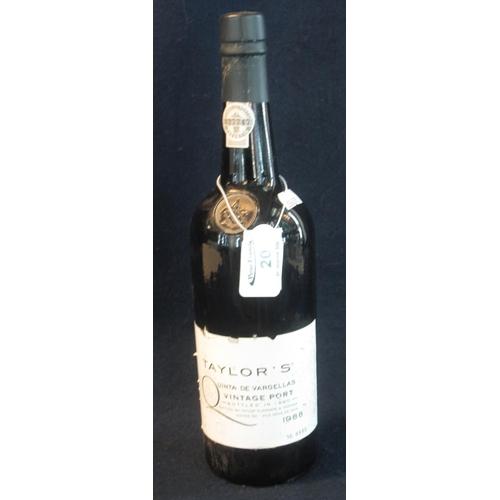 20 - One bottle Taylor's vintage port 1988, bottled in 1990, 75cl, 20.5% by volume. (B.P. 21% + VAT)