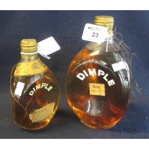 23 - Two bottles of Haig Scotch whisky Dimple bottles .26 & 2/3rds fluid ozs . (2) (B.P. 21% + VAT)...