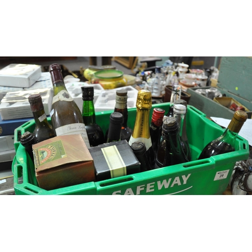 29 - A crate of assorted and mixed wines and spirits, perry, cava, liqueur brandy etc. (B.P. 21% + VAT)...