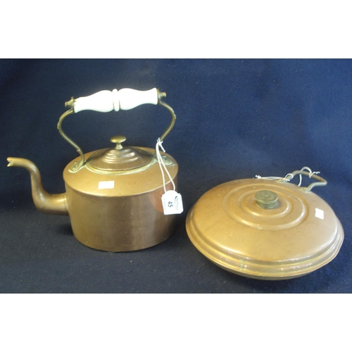 45 - 19th Century copper and brass kettle with ceramic handle, together with a copper hot water bottle of...