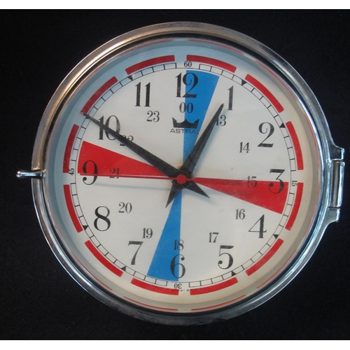 46 - An Astra chrome finish wall clock with blue and red quadrants to the white Arabic face. Modern with ...