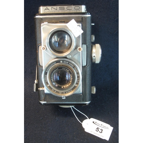 53 - Ansco automatic twin lens reflex roll film camera with Ansco 83mm lens. (B.P. 21% + VAT)...