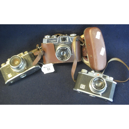 56 - Three Halina 35mm viewfinder cameras to include 35X (2) and Halina super 35X in everready case. (3) ...