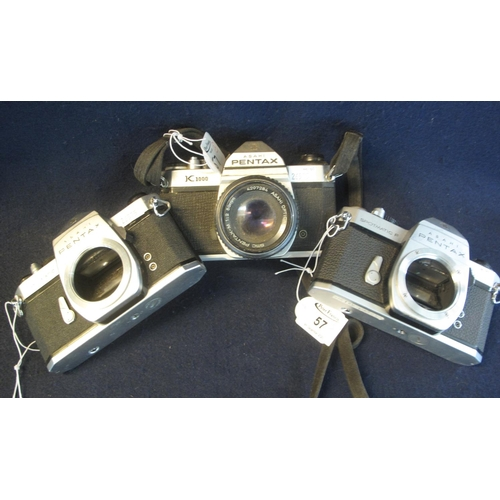 57 - Three Pentax 35mm SLR camera bodies to include; K1000, Spotmatic and Spotmatic F, together with one ...