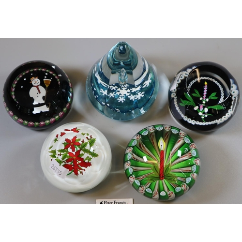 20 - Collection of Caithness and Perthshire glass Christmas paperweights to include 'Christmas Candle', '...