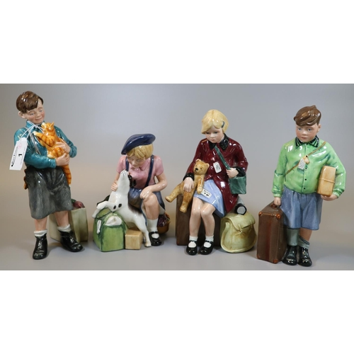 1 - Four Royal Doulton bone china figurines to include; 'The Boy and Girl Evacuee' and Boy and Girl Evac...