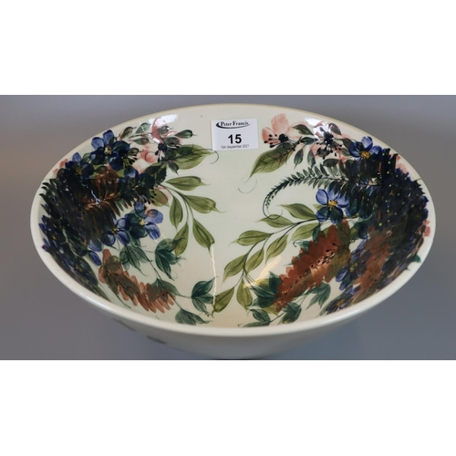 15 - Modern Gwili Pottery hand painted floral and foliate bowl. 28cm diameter approx.  (B.P. 21% + VAT)