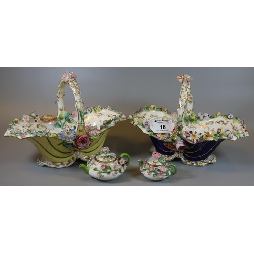 16 - Two Coalport floral encrusted yellow and cobalt blue ground shell single handled baskets, hand paint...