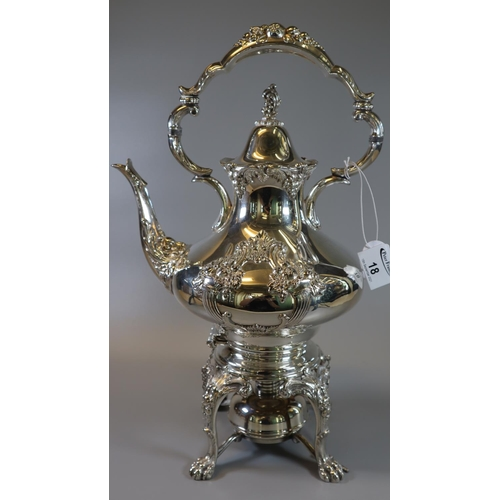 18 - Reed & Barton silver plated spirit kettle on stand.  (B.P. 21% + VAT)