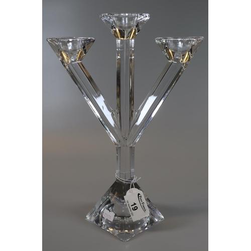 19 - Villeroy & Boch glass three section table candelabrum. (B.P. 21% + VAT)
