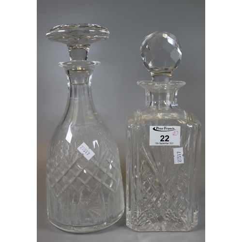 22 - Two cut glass decanters of square section and hob nail form with faceted and mushroom stopper. (2) (...