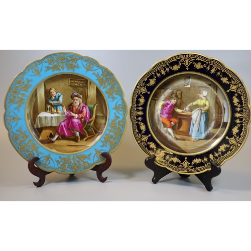 5 - Two similar Sevres porcelain cabinet plates with turquoise and black borders, gilt decoration, the c...