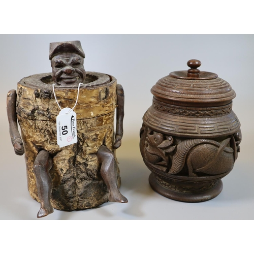 50 - Novelty zinc lined figural tobacco box with hinged cover and with a gentleman's head and protruding ...