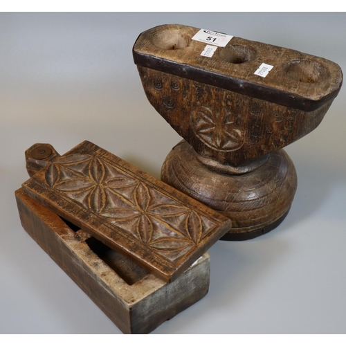 51 - Treen :carved wooden collection box with opening lid revealing two compartments to the interior, tog...