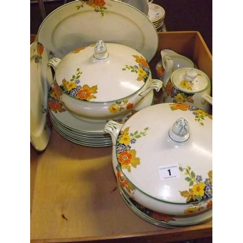 1 - BOX LOT CHINA TUREENS & OTHER TEA & DINNER WARE PALISSY...