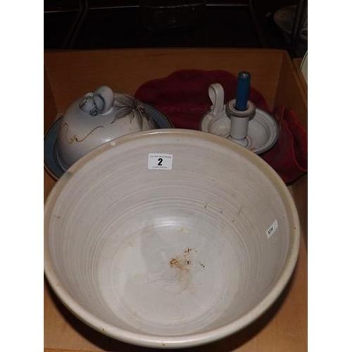 2 - STUDIO POTTERY BOWL LIDDED CHEESE DISH & CHAMBER STICK...