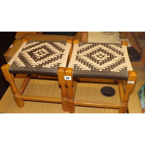 20 - A PAIR OF WICKER TOPPED STOOLS...