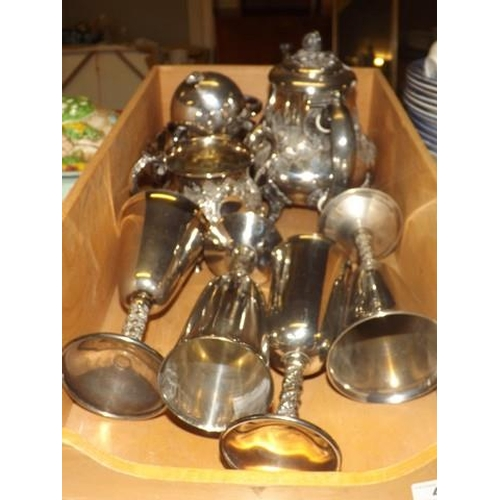 41 - SILVER PLATED GOBLETS & TEA SERVICE...