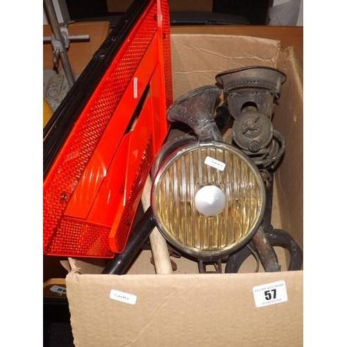 57 - VINTAGE CAR LIGHTS  BICYCLE CARBIDE LAMP ETC...