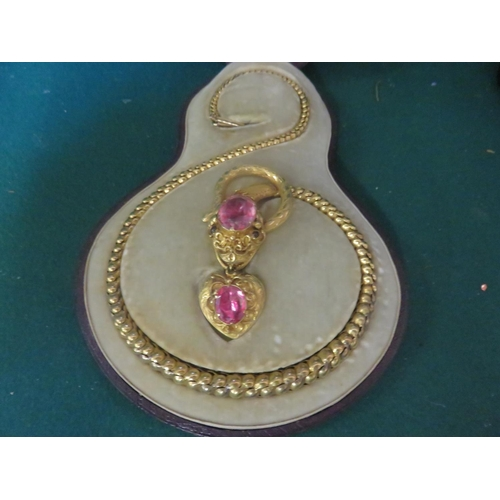 77 - Late Victorian Gilt Metal Snake Necklace in original fitted case