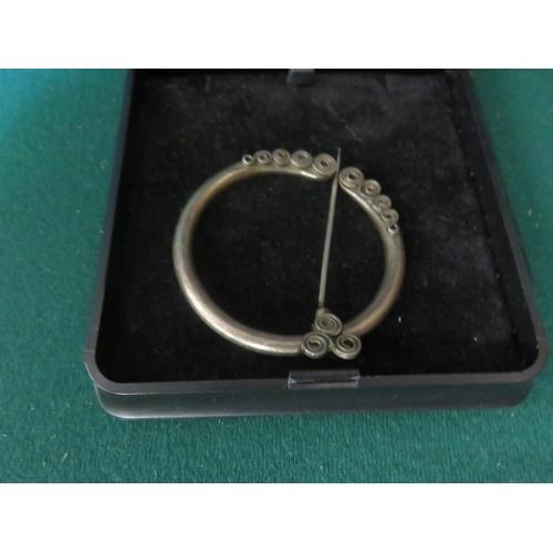 83 - Celtic Design Edinburgh Silver Plaid Brooch