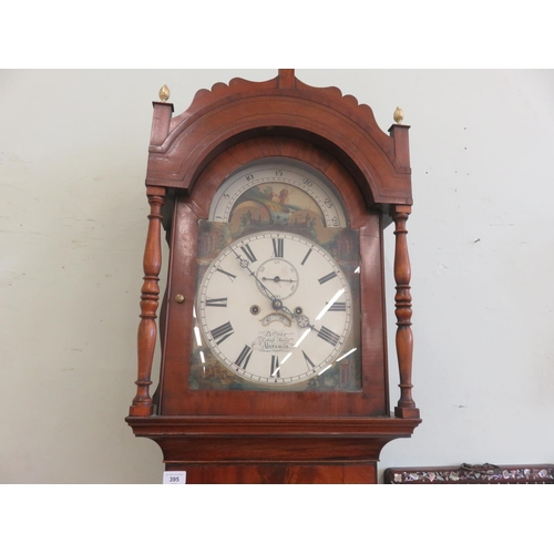 Flame Mahogany Long Case Clock with Painted Dial, D. Grier, Aberman