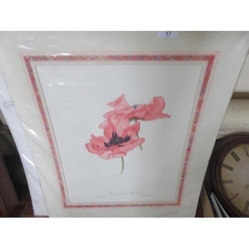 17 - Five unframed Flower Prints