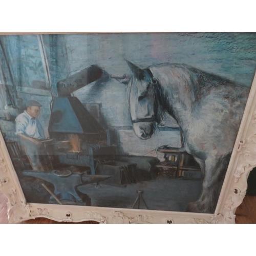 2 - Large white Framed Wash by P. C. Martin depicting Blacksmith