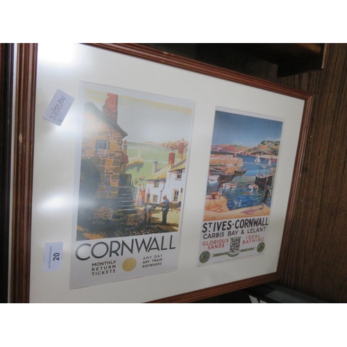 20 - Four Framed Copies of UK Railway Holiday Poster Prints