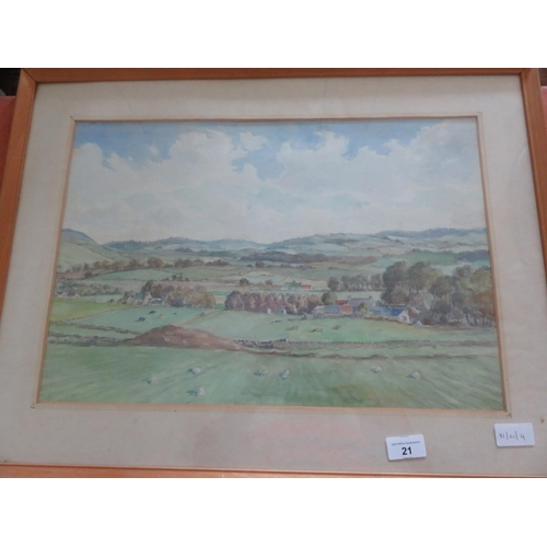 21 - Framed Watercolour, signed T. Train, Rural Landscape, inscribed on reverse