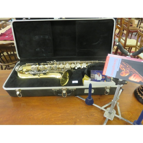 Cased Buescher Saxophone and Stand