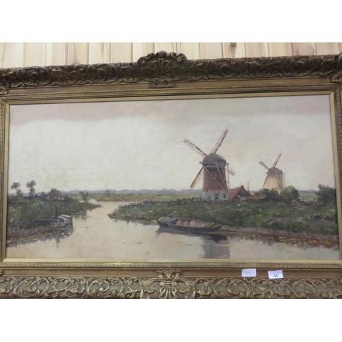 "Gilt Framed Oil Painting ""Extensive Dutch Landscape Scene"" by CJ. Delfgaauw"