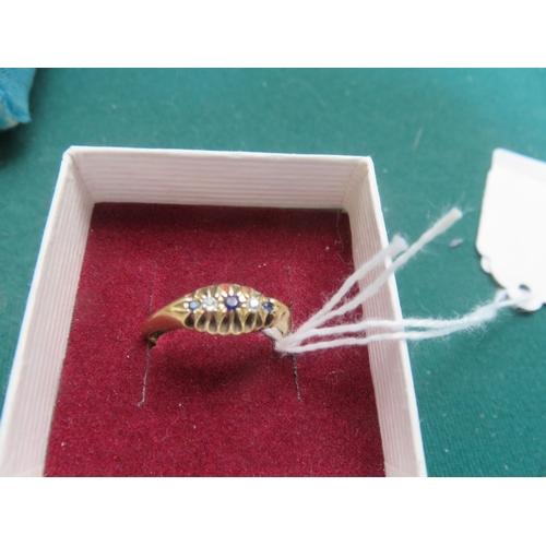 58 - Gold Sapphire Diamond Chip Ring