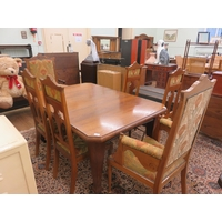 Oak wind Out Table with one leaf and Upholstered Chairs