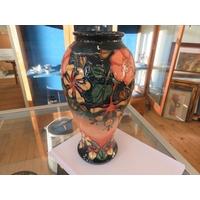 Moorcroft Vase 31cm - Blue and Pink Ground and Floral Decoration - LM on Base