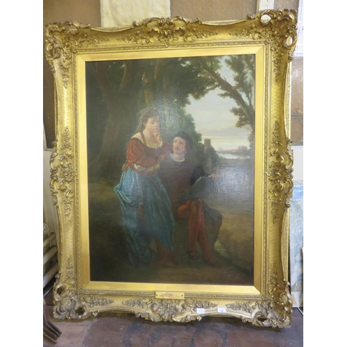 Framed Oil Painting - The Lesson - Charles Landseer 41.5 x 31 inches